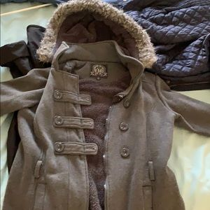 Grey jacket with hoodie (can be zipped off)